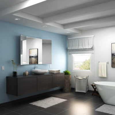 3d visualization bathroom rendering mirror cabinet