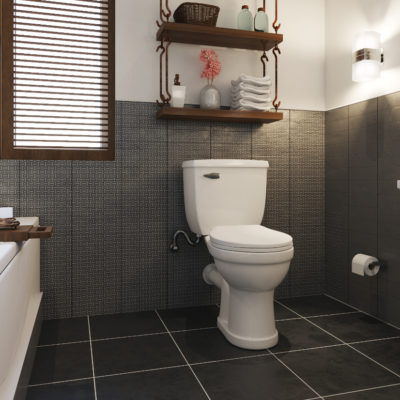 3d visualization bathroom rendering over the toilet storage system