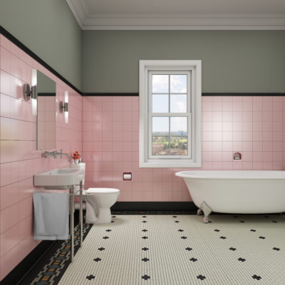 3d visualization bathroom rendering retro pink tiled bathroom 3133