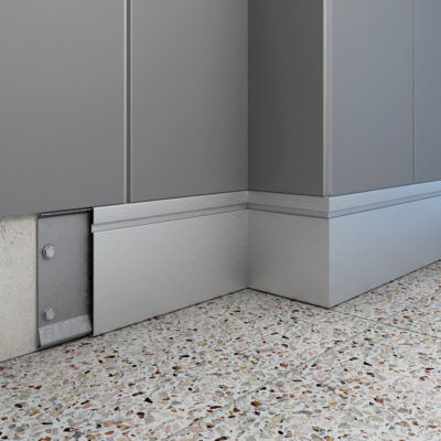 3d visualization close up rendering baseboard or floor molding 3911