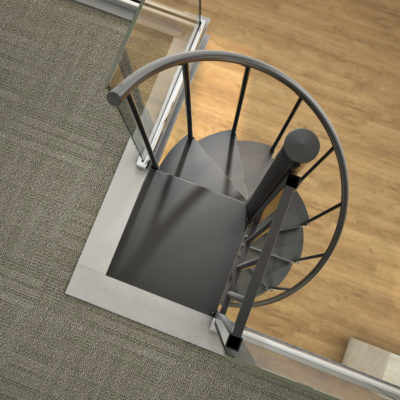 3d visualization close up rendering indoor steel stair 3344 4