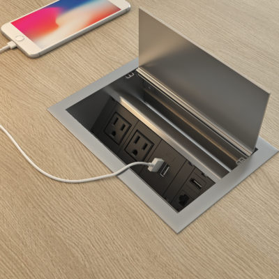 3d visualization close up rendering office environment table charger