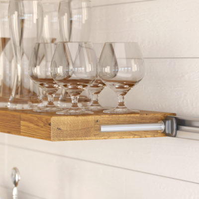 3d visualization close up rendering rustic wall kitchen shelf