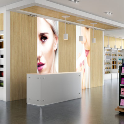 3d visualization commercial rendering beauty displays in retail center