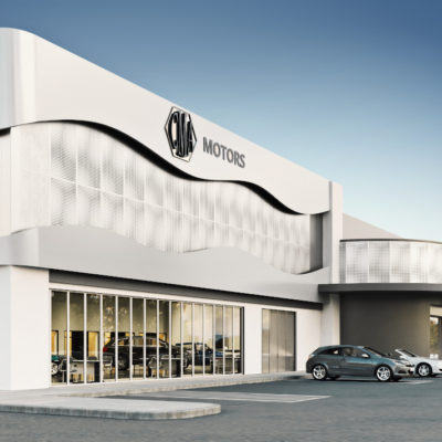 3d visualization commercial rendering exterior car showroom