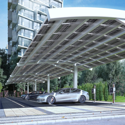 3d visualization commercial rendering solar charging station for electric vehicles 3858