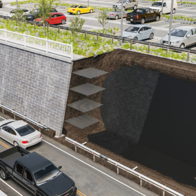 3d visualization construction rendering retaining wall