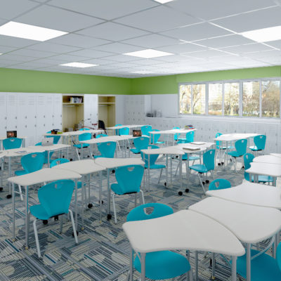 3d visualization educational rendering classroom interior