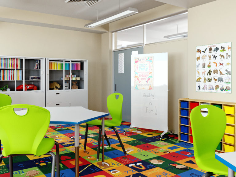 3d visualization educational rendering classroom with school furniture