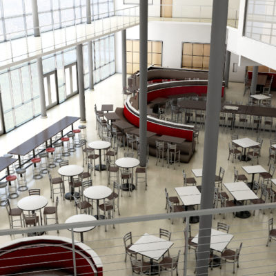3d visualization educational rendering high school cafeteria