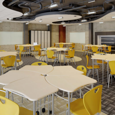 3d visualization educational rendering modern classroom design