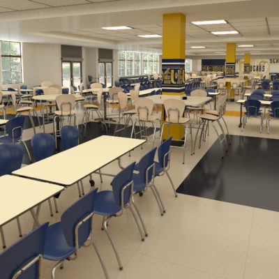 3d visualization educational rendering school lunchroom