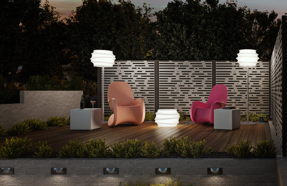 3d visualization exterior rendering patio area night lighting 4013