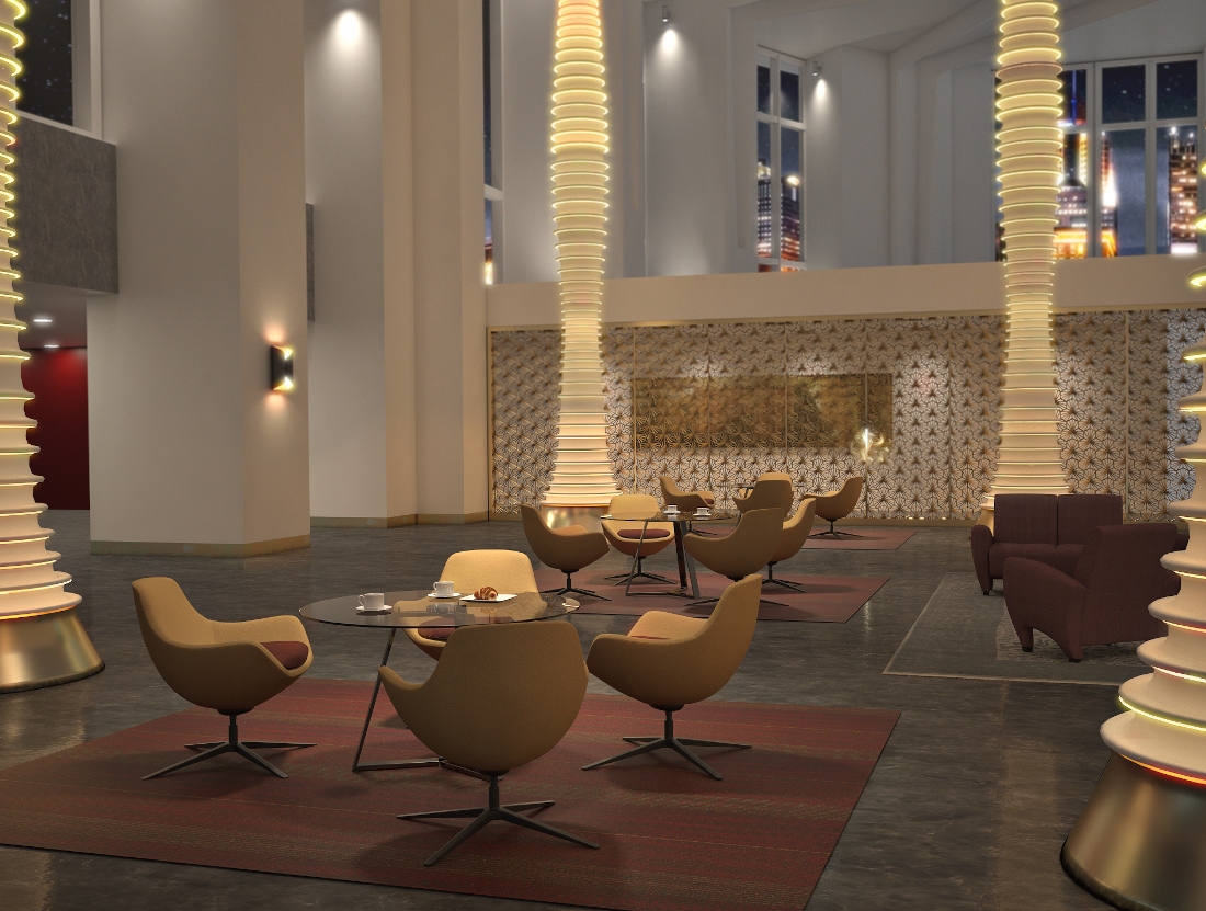 3d visualization hospitality rendering comet cafe