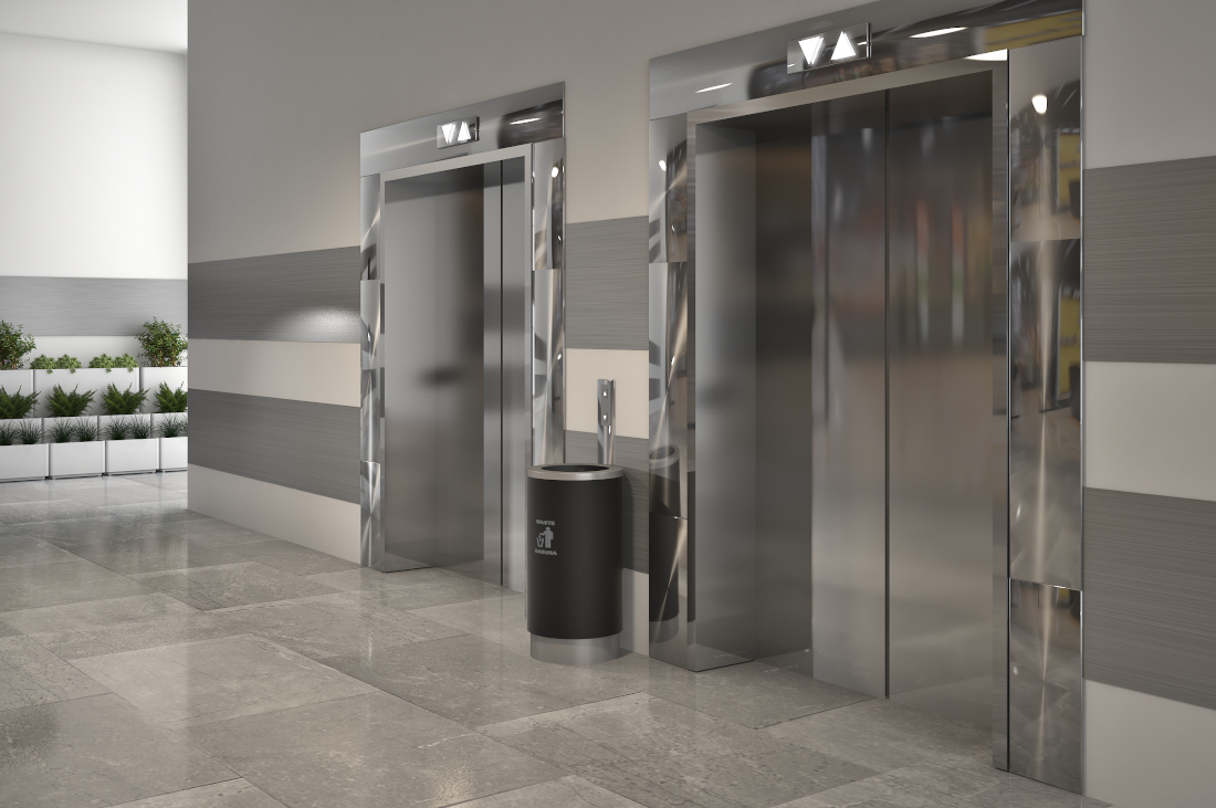 3d visualization hospitality rendering elevator bank