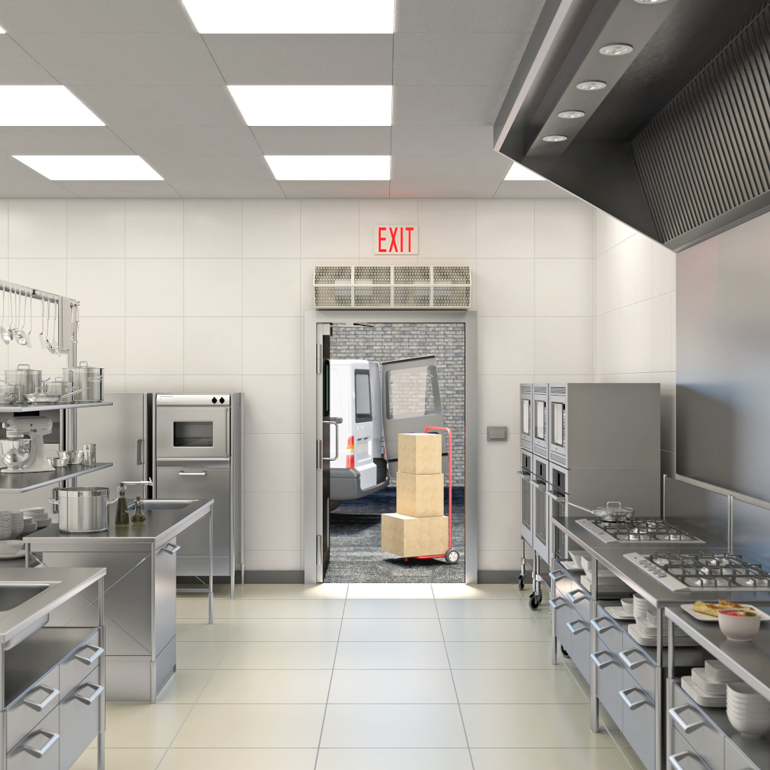 3d visualization hospitality rendering kitchen 3675