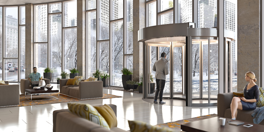3d visualization hospitality rendering lobby door 3567