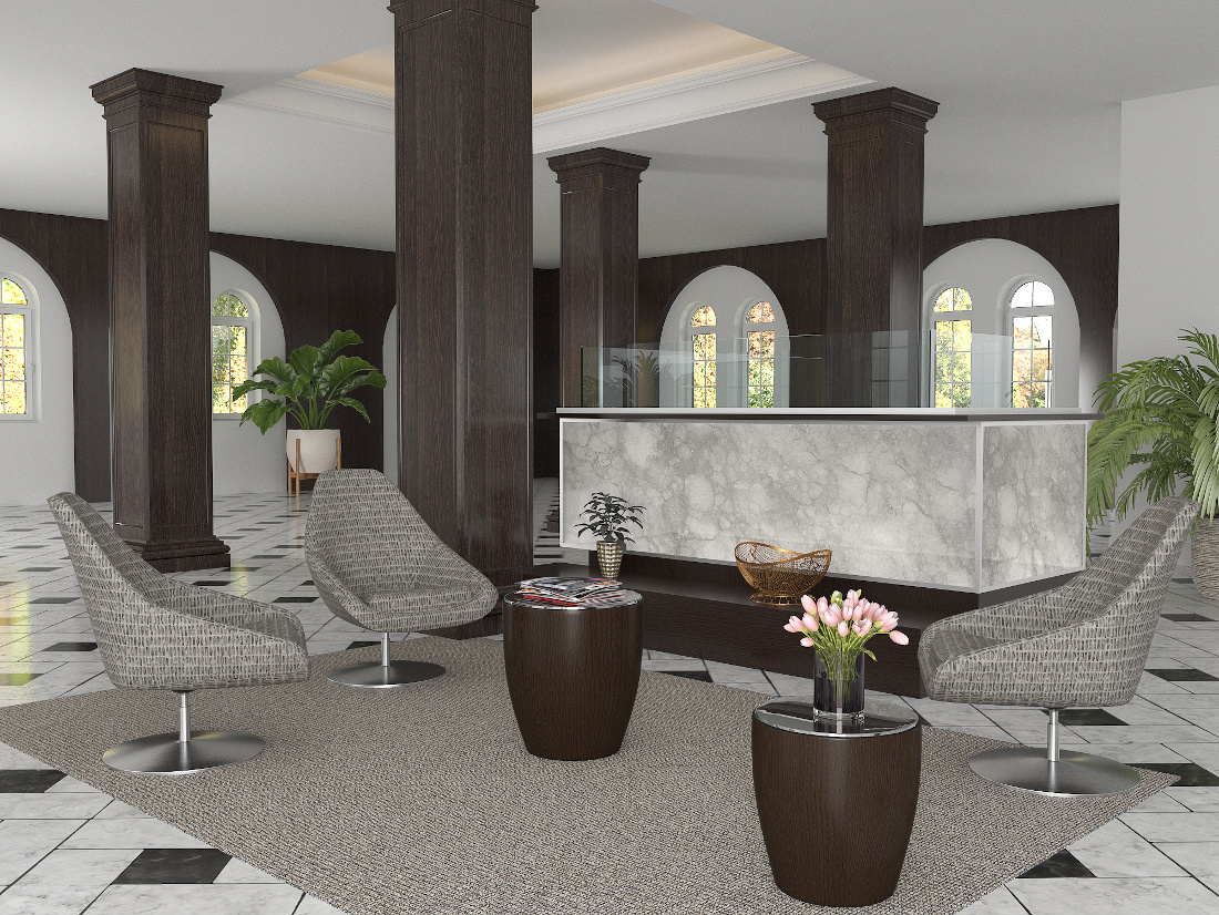 3d visualization hospitality rendering orbit lounge