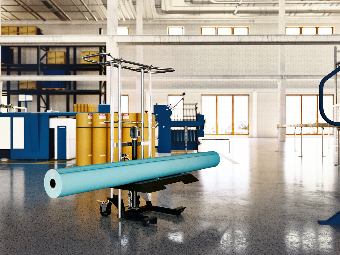 3d visualization industrial rendering low profile on a roll lifter