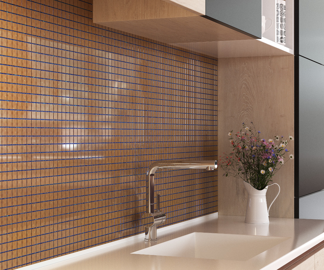 3d visualization kitchen rendering ceramic tile backsplash 4