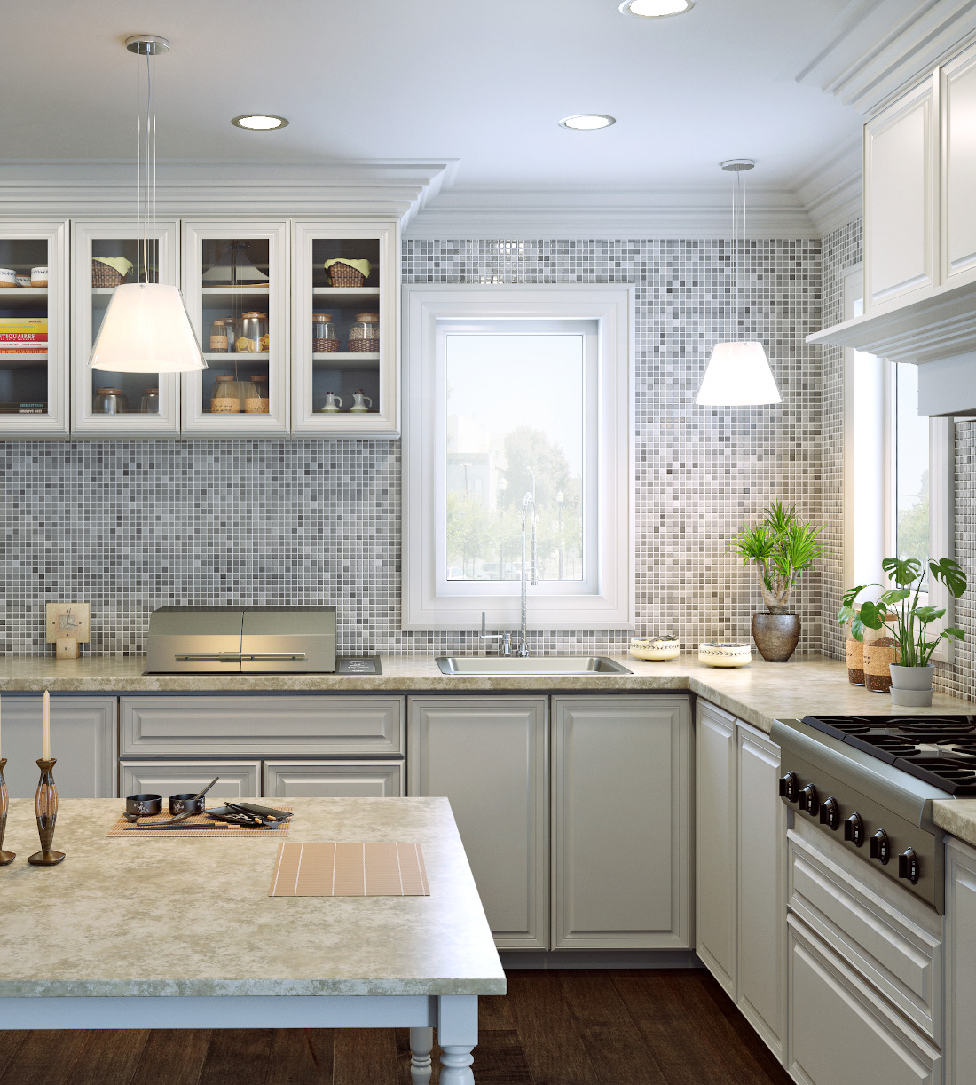 3d visualization kitchen rendering mosaic tiles 3294