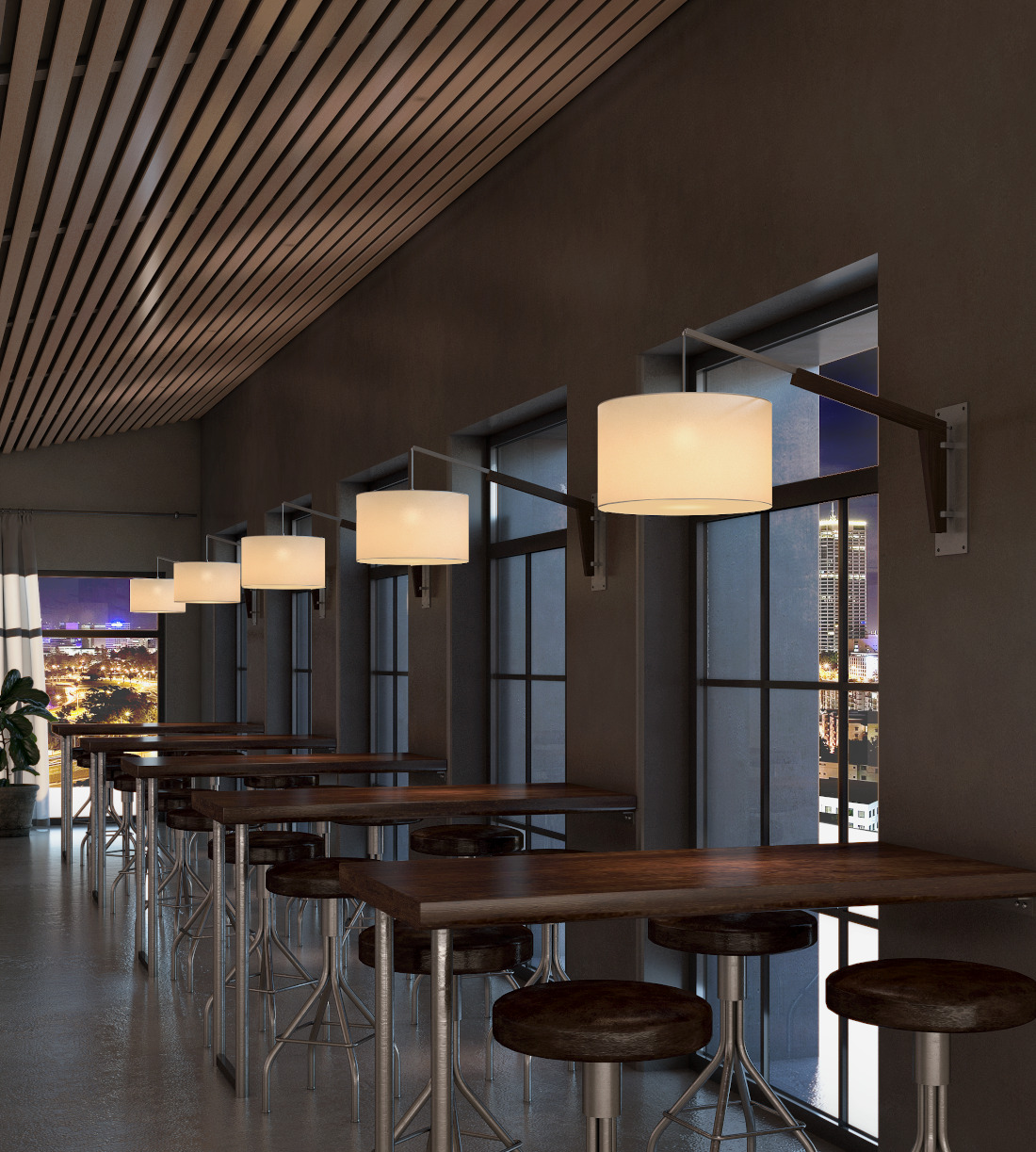 3d visualization lighting rendering coffee shop lamps