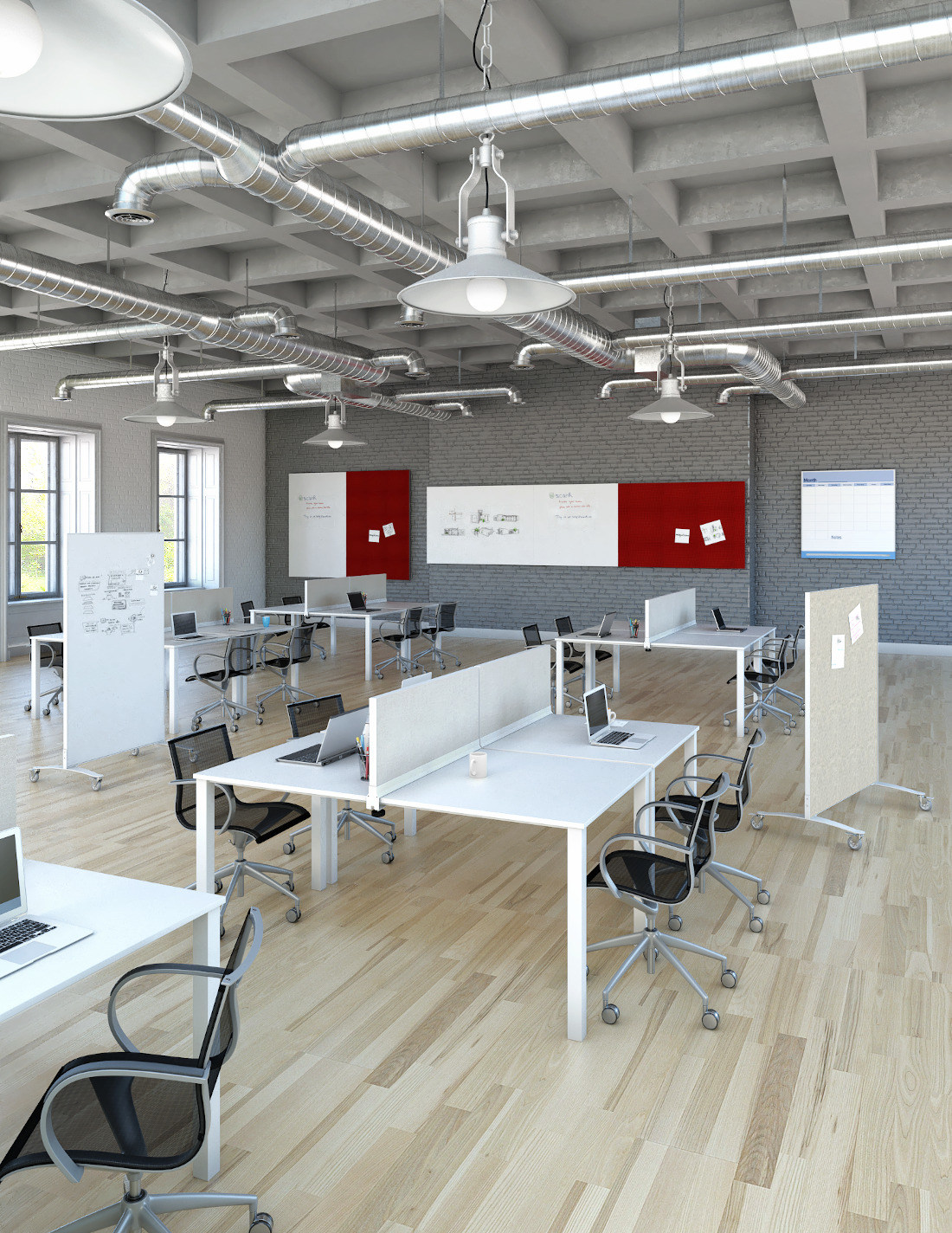 3d visualization lighting rendering industrial style office