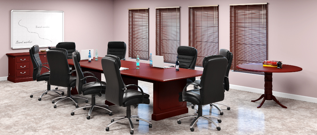 3d visualization office rendering conference room with upholstered furniture