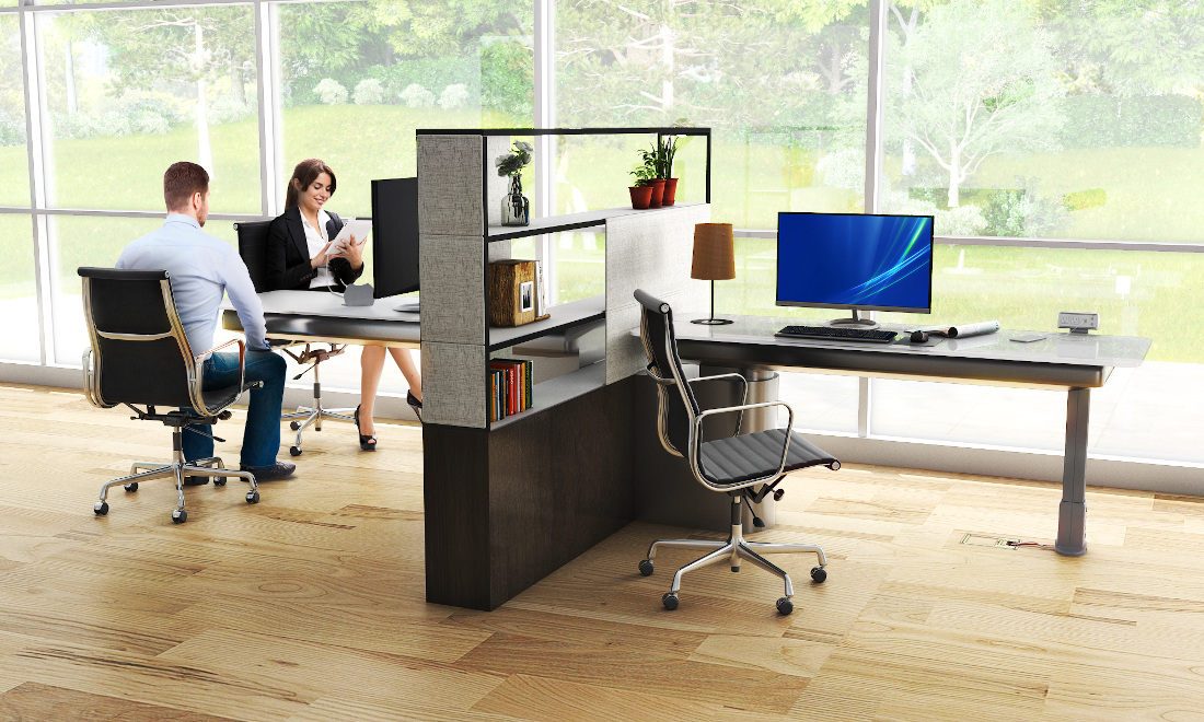 3d visualization office rendering modern workspace design 3821