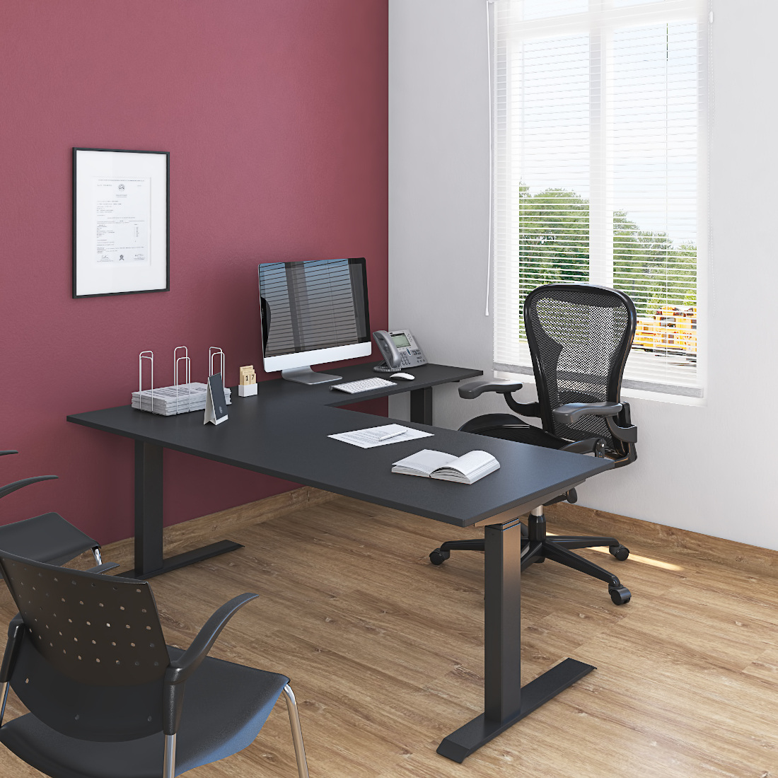 3d visualization office rendering office desks and chairs 3997 1