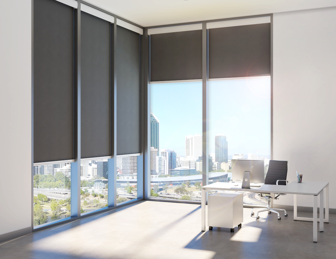 3d visualization office rendering office interior with shades