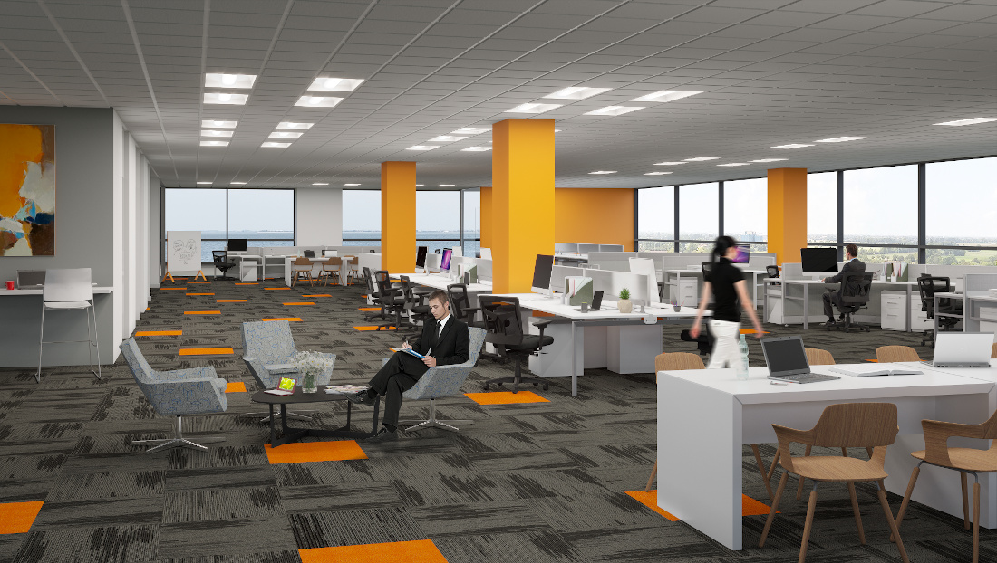 3d visualization office rendering open office with people