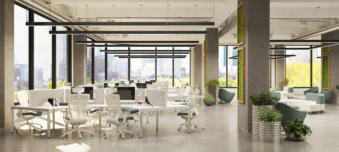 3d visualization office rendering open plan