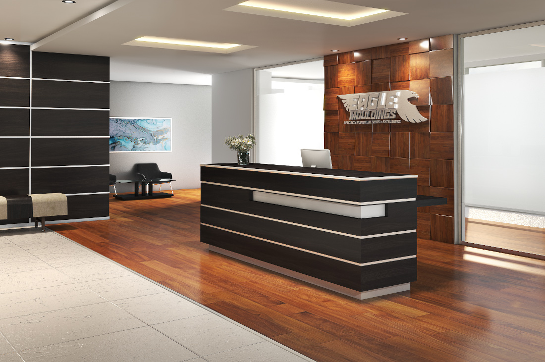 3d visualization office rendering reception with wooden wall 3838