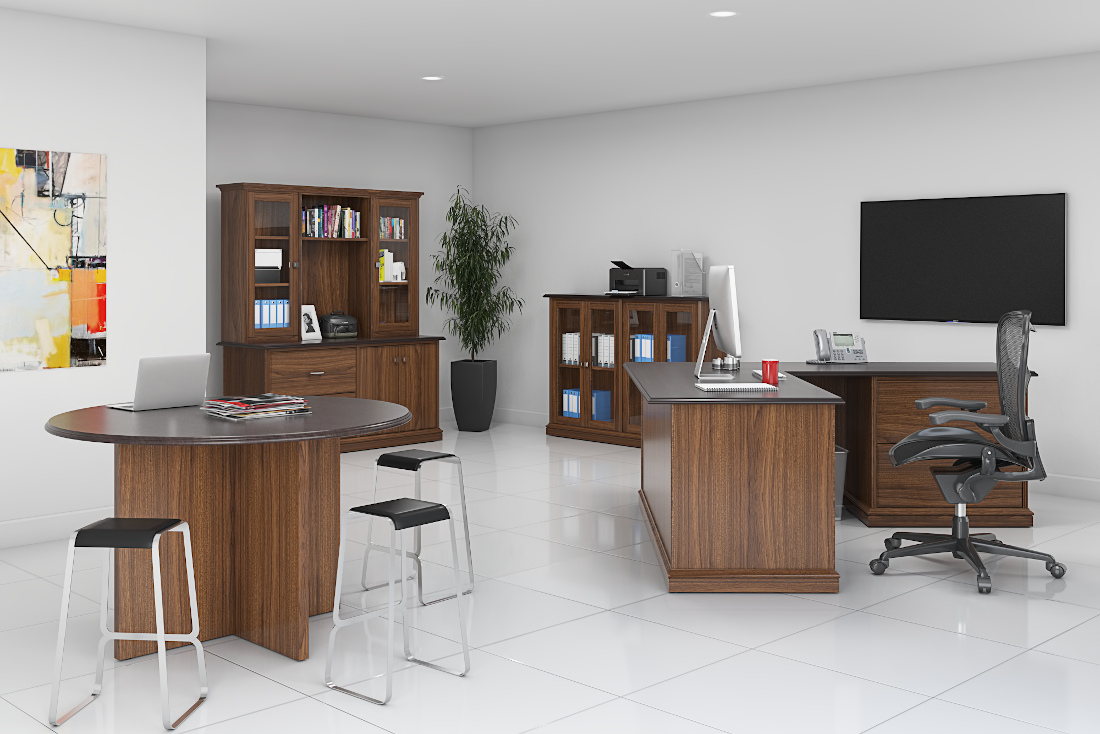 3d visualization office rendering solid wood office 3761