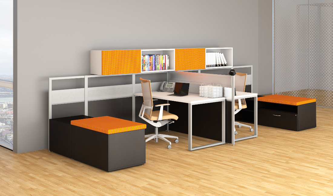 3d visualization office rendering vibrant orange workstation