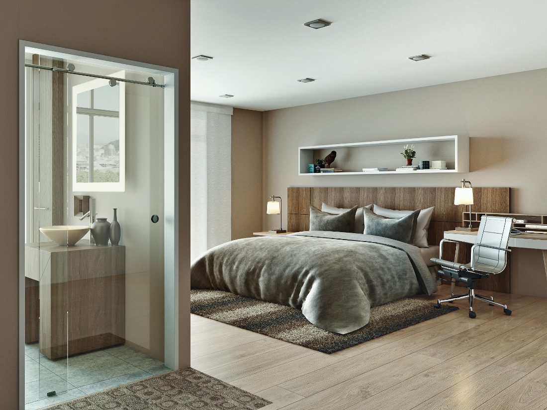 3d visualization residential rendering bedroom in daylight 3288