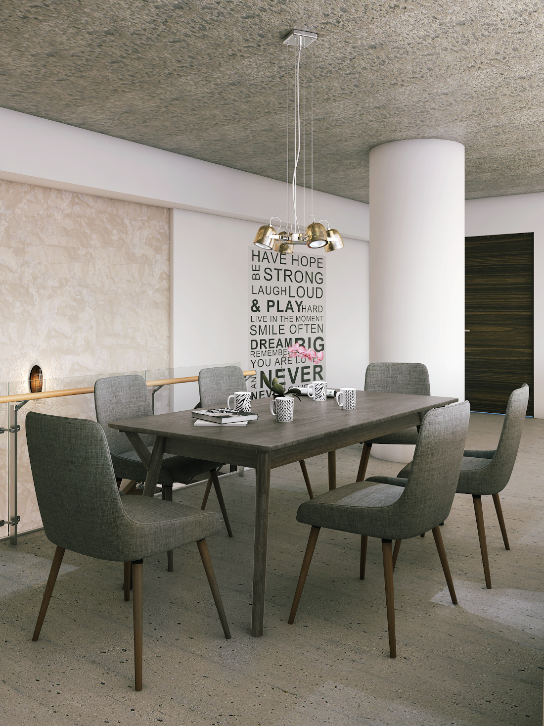 3d visualization residential rendering dining table cement style 2813 4