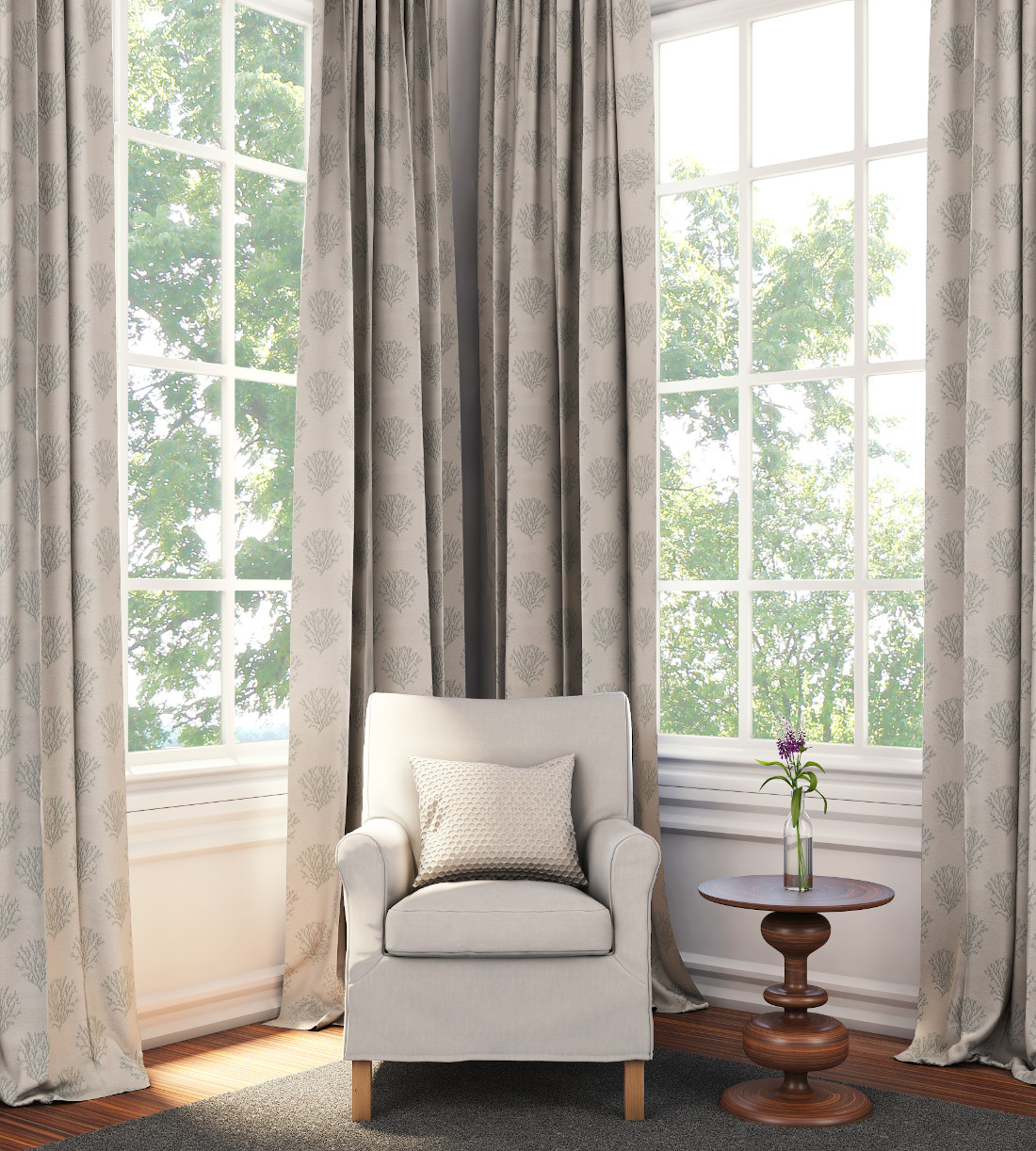 3d visualization residential rendering interior space with curtains and drapes 3921