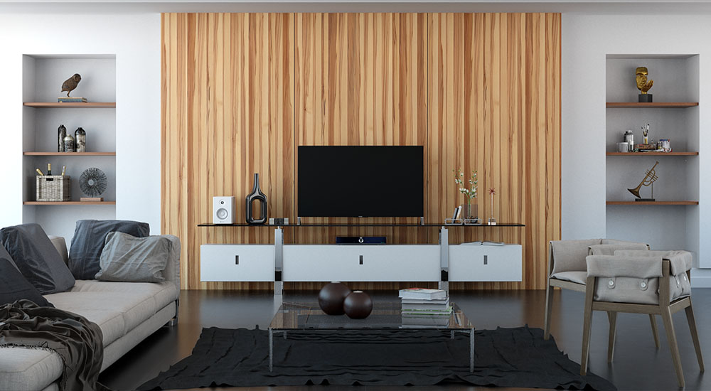 3d visualization residential rendering interior with wood wall surrounding tv 2580 2