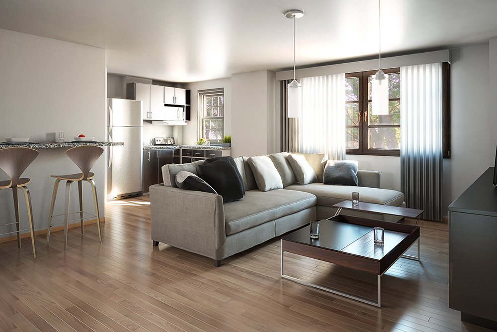 Residential 15: 3d visualization residential rendering living room 2255 5