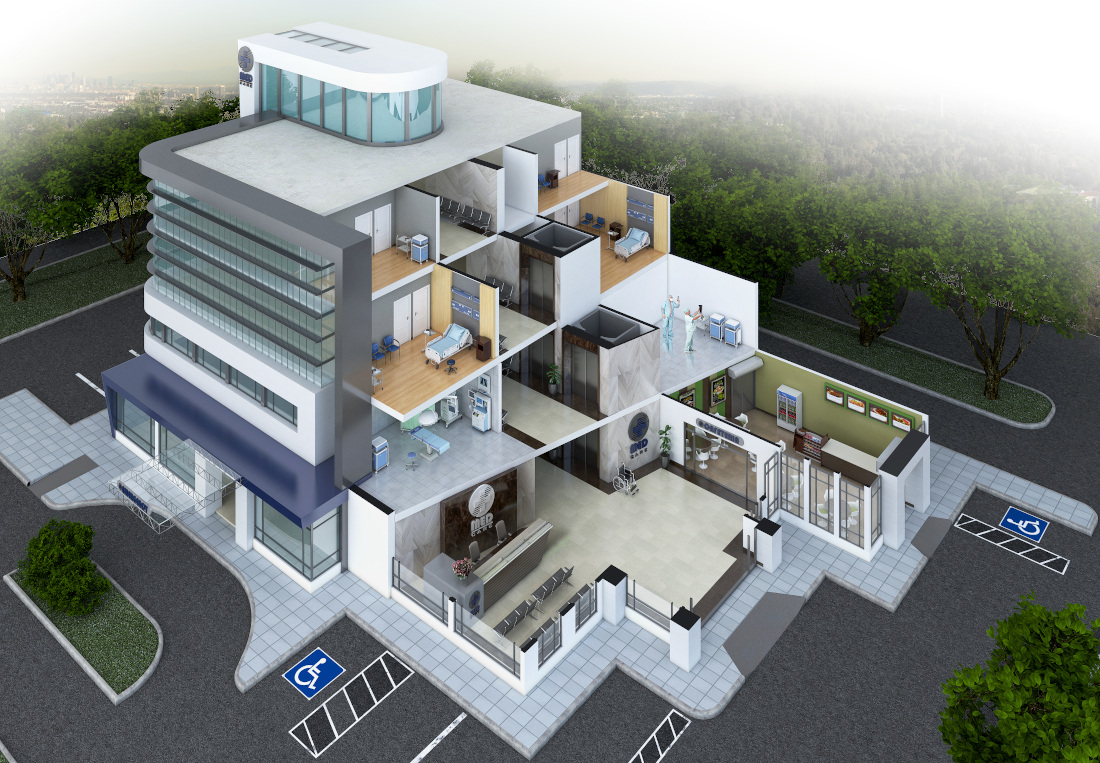 3d visualization top down health center bird eye view