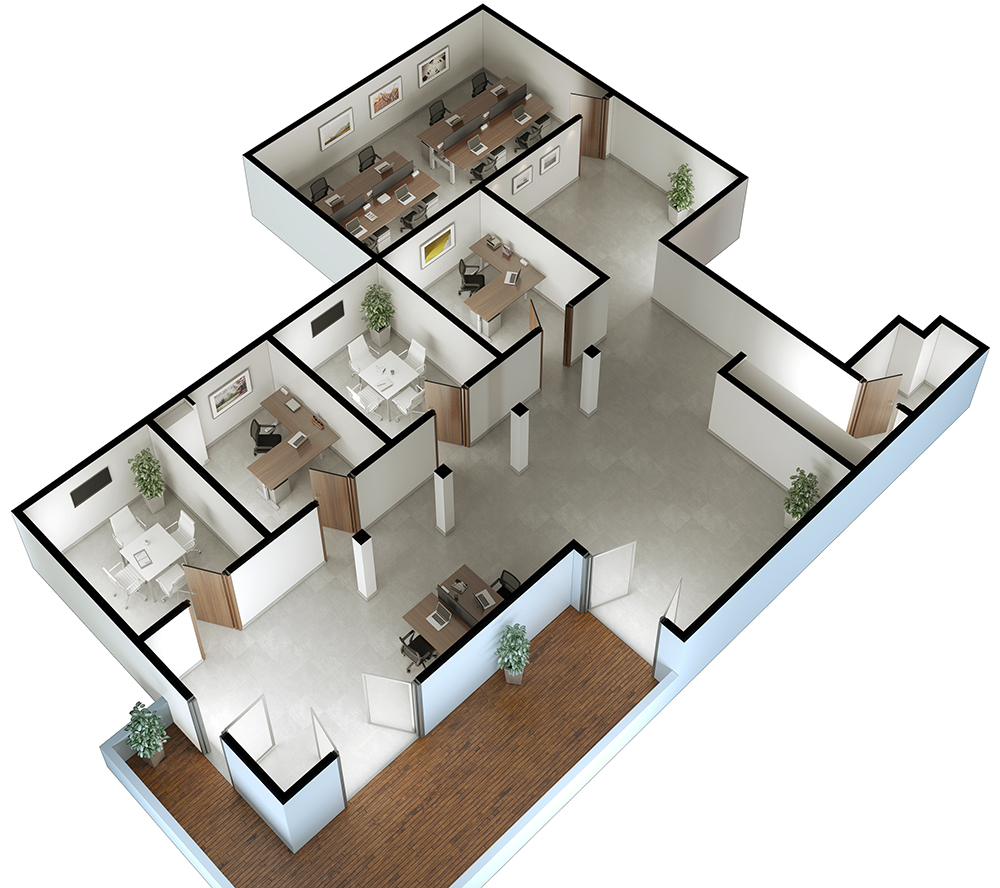 3d visualization top down office 2442