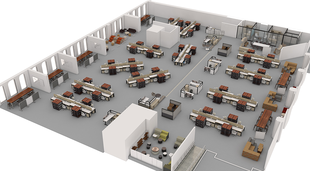 3d visualization top down office floor plan 2577 1