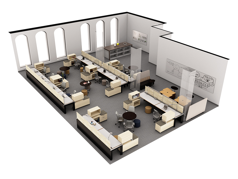 3d visualization top down office layout 2577 2