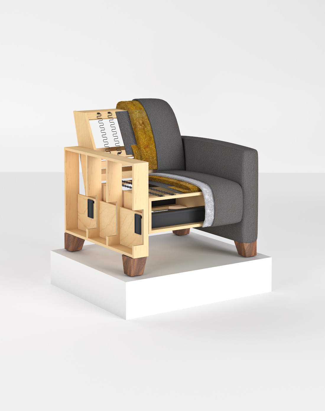 3d visualization white background rendering 3d cutout showcase chair