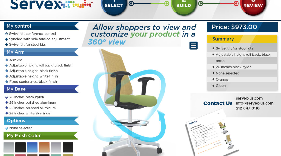 Online product configurator services for office furniture manufacturers